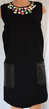 FENDI  BLACK WOOL STUDDD DETAIL LAMB LEATHER PACKETS  SLEEVELESS DRESS SIZE 46
