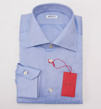 NWT $750 KITON Sky Blue Woven Cotton Dress Shirt Slim-Fit 17.5 x 37 + Box