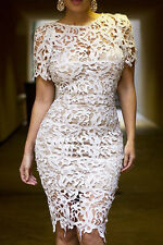 NEW HOT CREAM NUDE LACE CROCHET BODYCON PENCIL EVENING MIDI DRESS TOP 8 10
