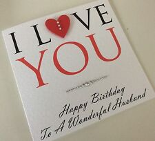 Personalised Handmade Birthday Card: Husband Wife Fiancé Girlfriend Boyfriend