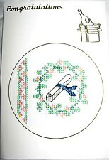 Graduation Card Completed Cross Stitch 6x4""