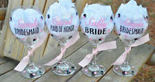 Set of 6 Personalized Bridesmaid Wedding Wine Glass Gift Name/Title