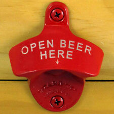 Red OPEN BEER HERE Starr X Wall Mount Bottle Opener Powder Coated, Engraved NEW!