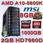 Gamer PC AMD A10-5800K 4x4,20GHz BE-1TB SATA 3+8GB-2GB Radeon HD7660D 4xUSB 3.0