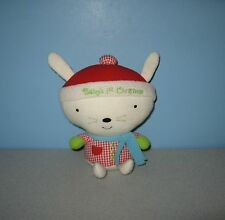 """Hallmark Baby's 1st Christmas 8"""" Bean Plush Bunny Rabbit in Checkered Outfit"""