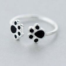 Real 925 Silver Silver Double Dog paw Puppy Ring Adjustable For Women Jewelry