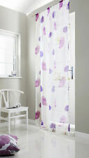 TUSCANY POPPY FLOWER MOTIF PRINT SLOT TOP VOILE PANEL OR EYELET LINED CURTAINS