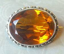 ANTIQUE EDWARDIAN SOLID SILVER CITRINE PASTE BROOCH PIN