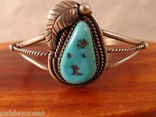 Sterling Silver Turquoise Twisted Rope Accent Cuff Bracelet 12 g marked TS