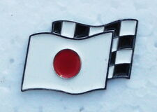 JAPAN MOTORSPORT CHECKERED FLAG ENAMEL LAPEL PIN BADGE. 25x20mm.