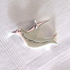 925  SOLID SILVER PEACE AND LOVE DOVE PENDANT CHARM *Pretty little Kiss*