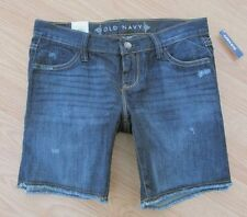 "OLD NAVY ~ New NWT ~ Size 0 ~ Dark Denim ""Destructed"" Jeans Raw Hem 7"" Shorts"