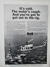 2/1973 PUB BELL HELICOPTER TEXTRON BELL 212 OFFSHORE OIL ORIGINAL AD