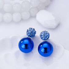 Women Jewelry Double Sided Crystal Pearl Beads Ear Stud Round Earrings Colorful