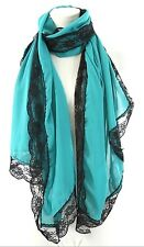 B14 Teal Green Black Scalloped Lace Edge Handmade Shawl Wrap Scarf