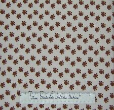 Brown Cat Dog Paw Print Toss on Beige Meow - Newcastle Fabric Cotton /Yd