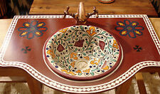 Moroccan small multi hand painted ceramic round sink wash basin