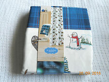 NWOT CHRISTMAS CABIN FABRIC SHOWER CURTAIN ~ RUSTIC MOOSE BEAR SNOWMAN