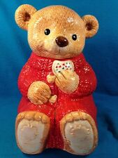 Hallmark Teddy Bear Cookie Treat Jar Mary #31539 Red Sweater Gourmet Gifts Cute