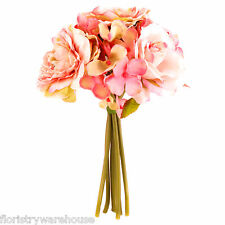 Artificial Rose and Hydrangea Bouquet Vintage Pink 18cm/7 Inches Wedding Flower