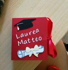 2 scatole bomboniera scatolina porta confetti laurea tocco pergamena nome