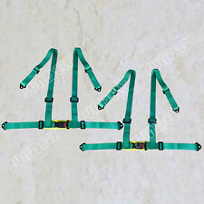 Pair 3 4 Point 4PT Green H-Style Car Safety Harness Racing Seat Belt Stitches