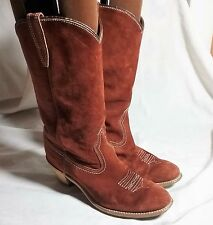WOLVERINE WOMENS BROWN SUEDE LEATHER COWBOY WESTERN SIZE 8 BOOTS SHOES 1974