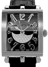MILLAGE DIJON COLLECTION ML0073-A SWISS QUARTZ BLACK FACE UNISEX WATCH. BR NEW