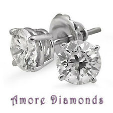 2.04ct H VS round natural diamond solitaire 4 prong stud earrings 14k white gold