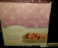 🍼💕LUXURY LINEN FOR BABY CHANGING PAD COVER PINK WHITE HEART SUPER SOFT🍼💕.