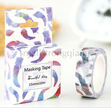 Colored feather style Paper Sticky Lable Sticker Masking Washi Tape