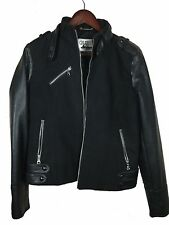 WOMEN'S GUESS LOS ANGELES BLACK LEATHER BOMBER JACKET