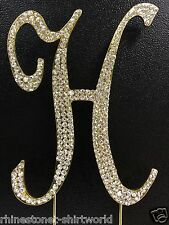"GOLD Plated Rhinestone  Monogram Letter ""H""  Wedding Cake Topper  5"" inch high"
