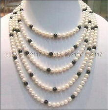 """NATURAL SOUTH SEA 7-8MM WHITE + BLACK AKOYA PEARL NECKLACE 100"""""""