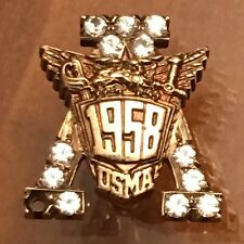 1958 USMA West Point Academy Badge Pin w Sapphires 5.4 Grams