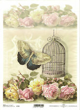 Rice Paper for Decoupage Scrapbooking, Vintage Birdcage Butterfly Roses ITD R759