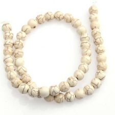 "Hot Sale 15"" New White Howlite Turquoise Gemstone Round Beads 8mm"