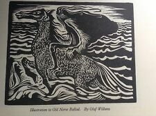 1940s Woodcut print Old Norse Ballad by Olaf Willums - Viking, Warrior, Myth