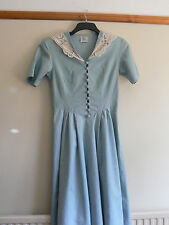 LAURA ASHLEY DRESS VINTAGE DUCK EGG BLUE COLONIAL/EDWARDIAN STYLE LINEN  8-12