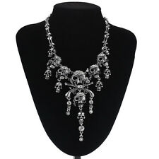 Rhinestone Encrusted Statement Multi Skull+Cross Gun Necklace/Drape/Bib/Collar
