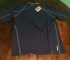 NWT Men's Navy REEBOK Playdry S/S Spandex Workout Athletic Top Size Large L
