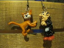 Smurf Earrings! Gargamel and Azrael Cat Kitsch Quirky!80's Party Costume Novelty
