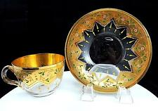 """MOSER BOHEMIAN CRYSTAL GOLD STAR ENAMEL & FLORAL BEADED 2.5"""" CUP & SAUCER 1890"""