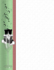Cat In Champagne Glass Stationery Printer Paper 26 Sheets