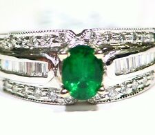 1.62CT 14K GOLD NATURAL EMERALD WHITE CUT DIAMOND VINTAGE AAA ENGAGEMENT RING