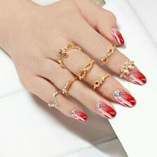 #9010 1 Set 7 pcs Women Rhinestone Bowknot Knuckle Mid Finger Tip Stacking Ring