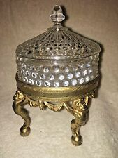 WB MFG. Co. 435C Gold Tone Angel Stand With Hob Nail Powder Trinket Dish