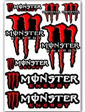 Set of 8 Monster Red Motorcycle Auto Car Bike Skate Stickers Vinyl Sport MTB ATV