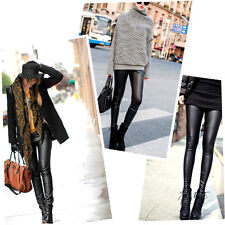 Fashion Style Tights Women Sexy Wet Look Shiny Faux Leather Leggings Pants AO