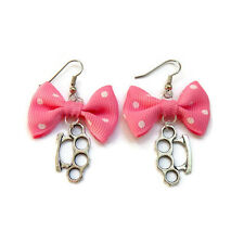 Pink Bow and Brass Knuckles Earrings, Rockabilly, Pinup, Retro, Kitsch Jewelry